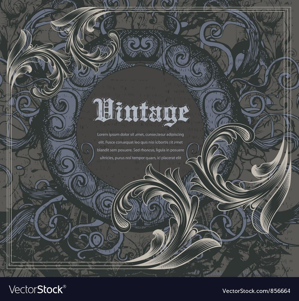 Vintage frame with engraved floral vector | Price: 1 Credit (USD $1)