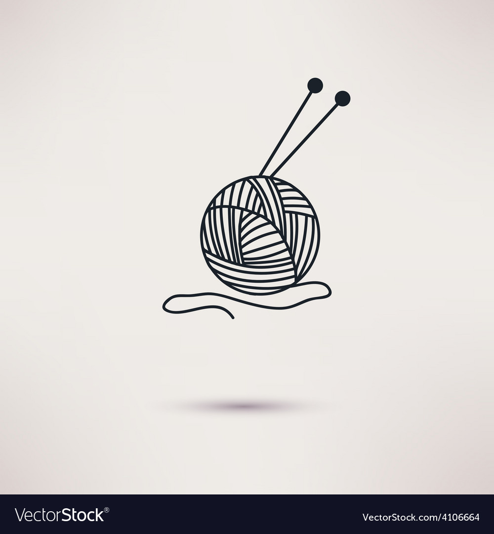 Woolen thread and needles flat design vector | Price: 1 Credit (USD $1)