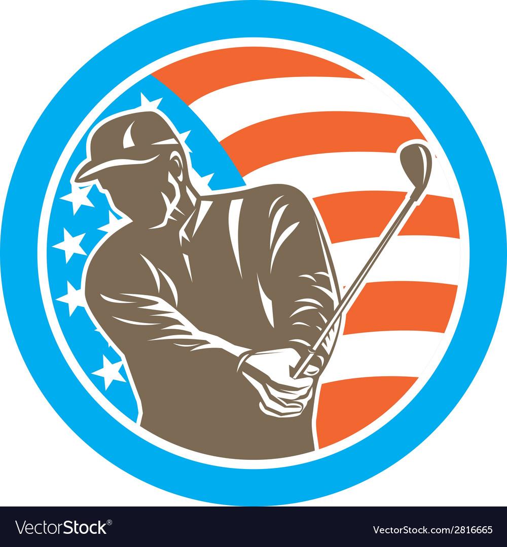American golfer playing golf circle retro vector | Price: 1 Credit (USD $1)
