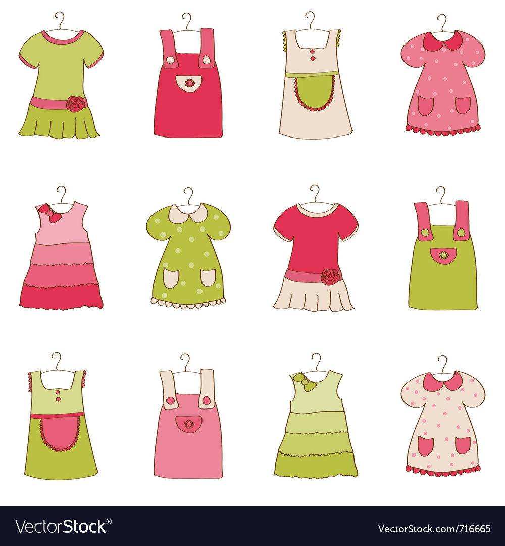Baby girl dress collection vector | Price: 1 Credit (USD $1)