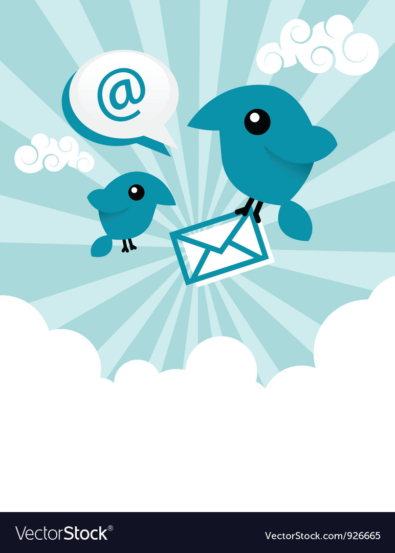 Blue email birds vector | Price: 1 Credit (USD $1)