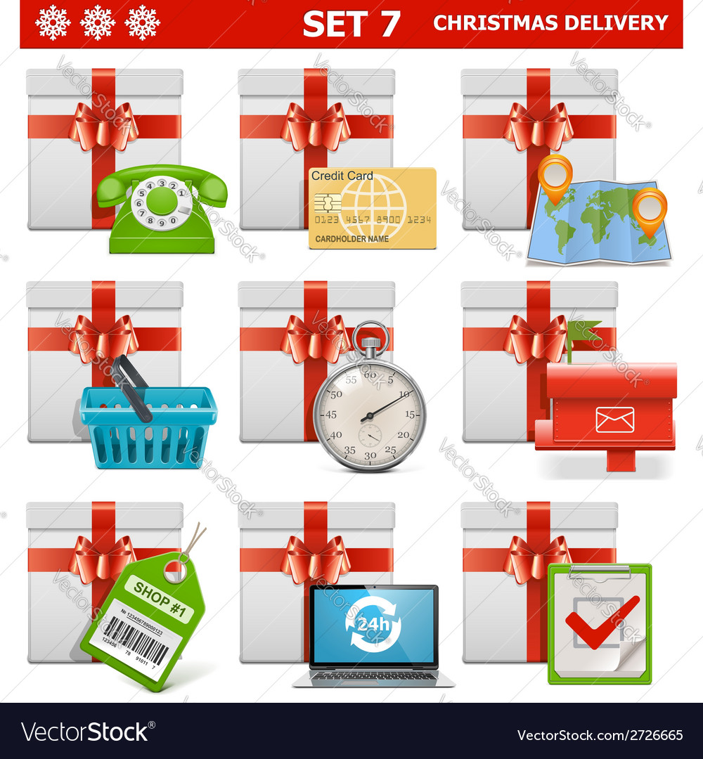 Christmas delivery set 7 vector | Price: 1 Credit (USD $1)