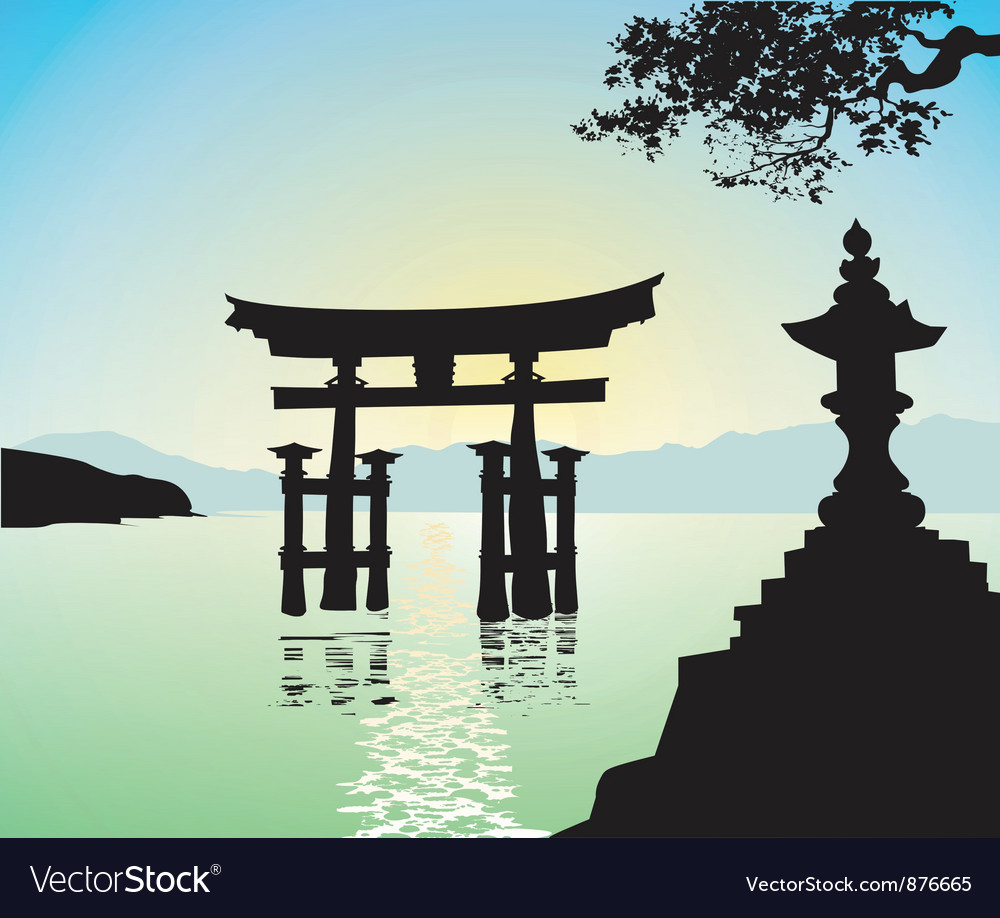 Japanese style gate vector | Price: 1 Credit (USD $1)