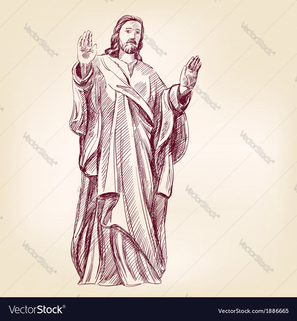 Jesus christ christianity hand drawn llustration vector | Price: 1 Credit (USD $1)