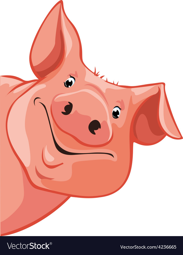 Pig peeking out from the left - vector | Price: 1 Credit (USD $1)