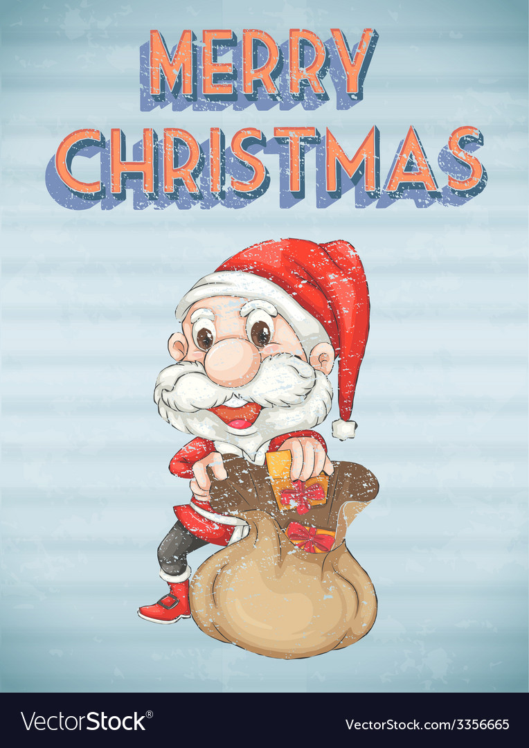 Retro christmas poster vector | Price: 1 Credit (USD $1)
