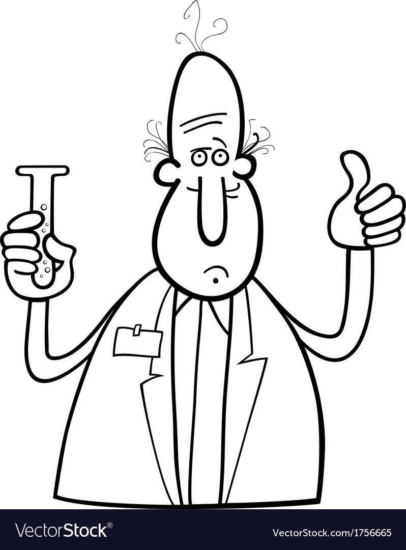 Scientist with vial coloring page vector | Price: 1 Credit (USD $1)