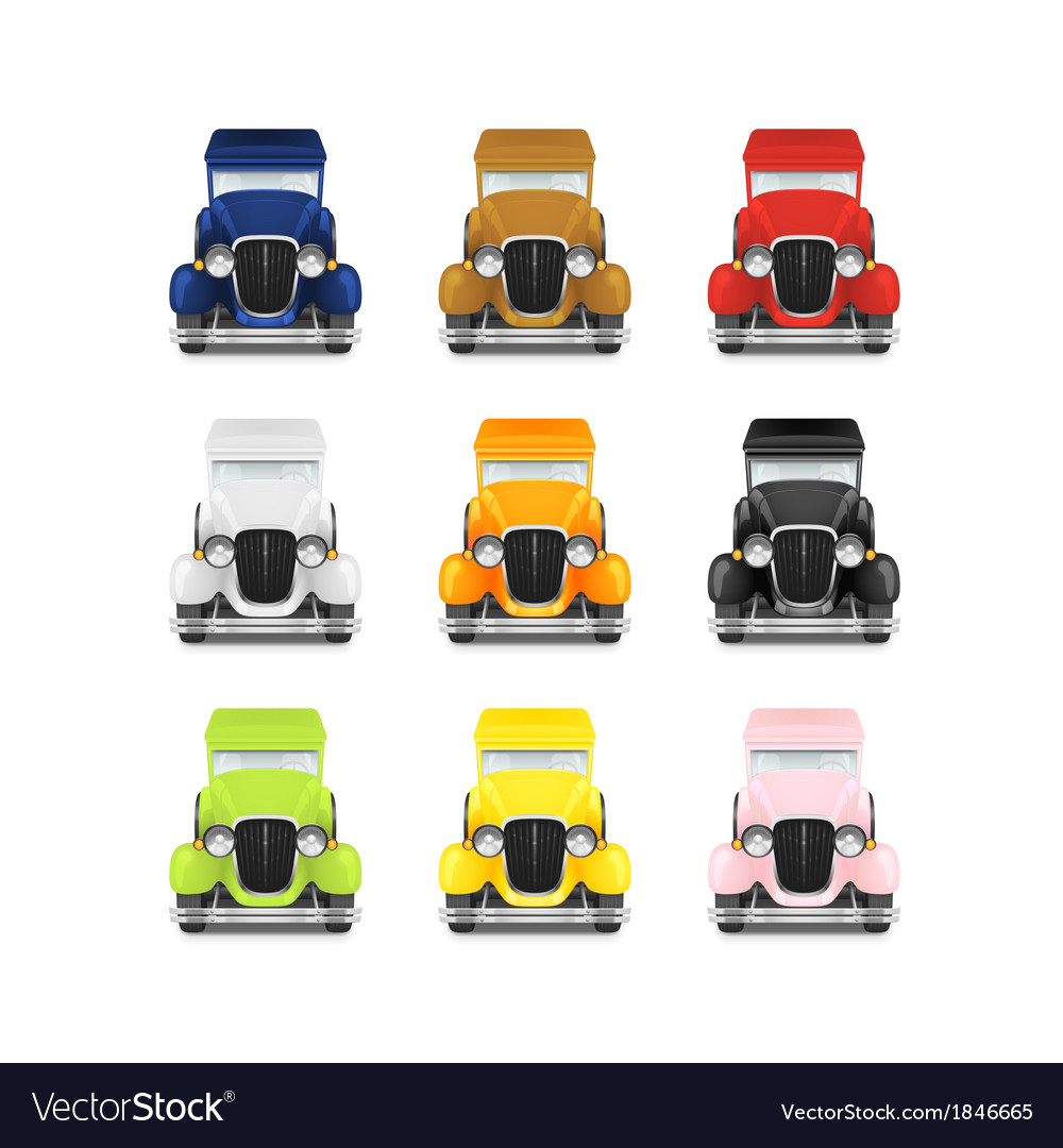 Set retro car icon vector | Price: 1 Credit (USD $1)