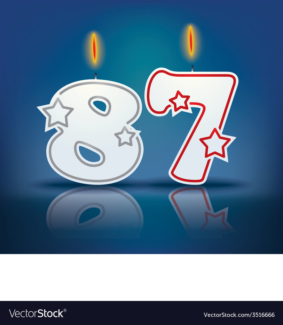 Birthday candle number 87 vector | Price: 1 Credit (USD $1)