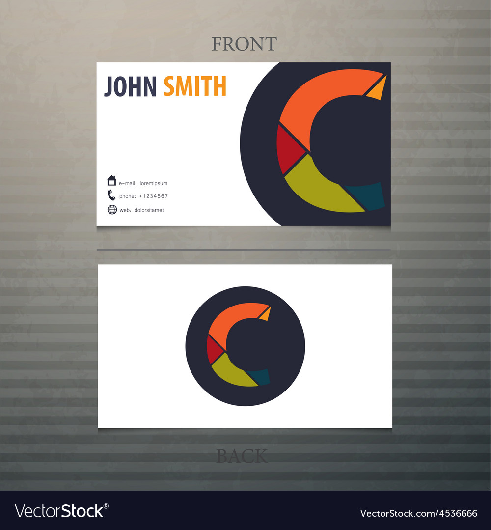 Business card template letter c vector | Price: 1 Credit (USD $1)