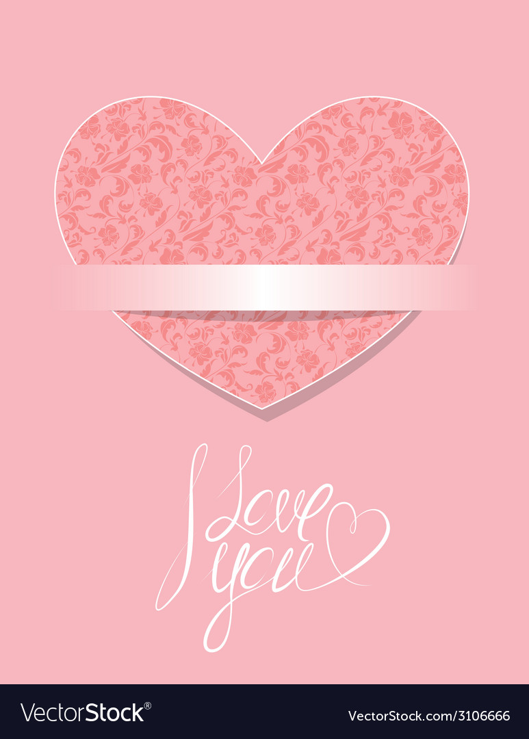 Card with floral pattern heart calligraphic text i vector | Price: 1 Credit (USD $1)