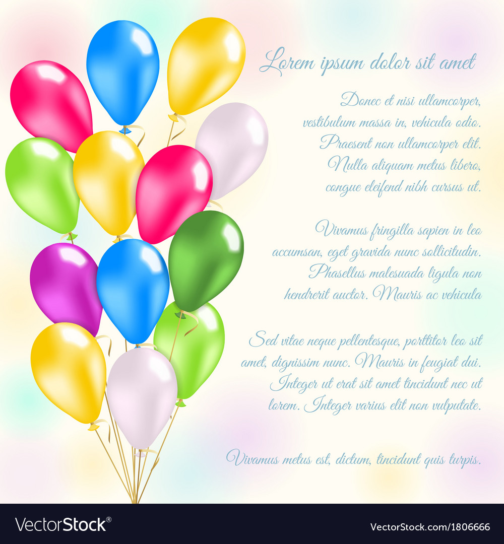 Colorful balloons invitation card vector | Price: 1 Credit (USD $1)