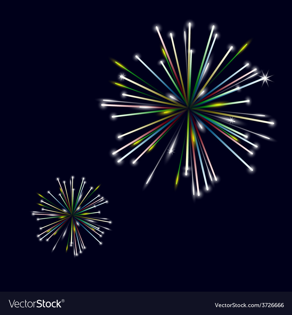 Colorful shiny fireworks on black background eps10 vector | Price: 1 Credit (USD $1)