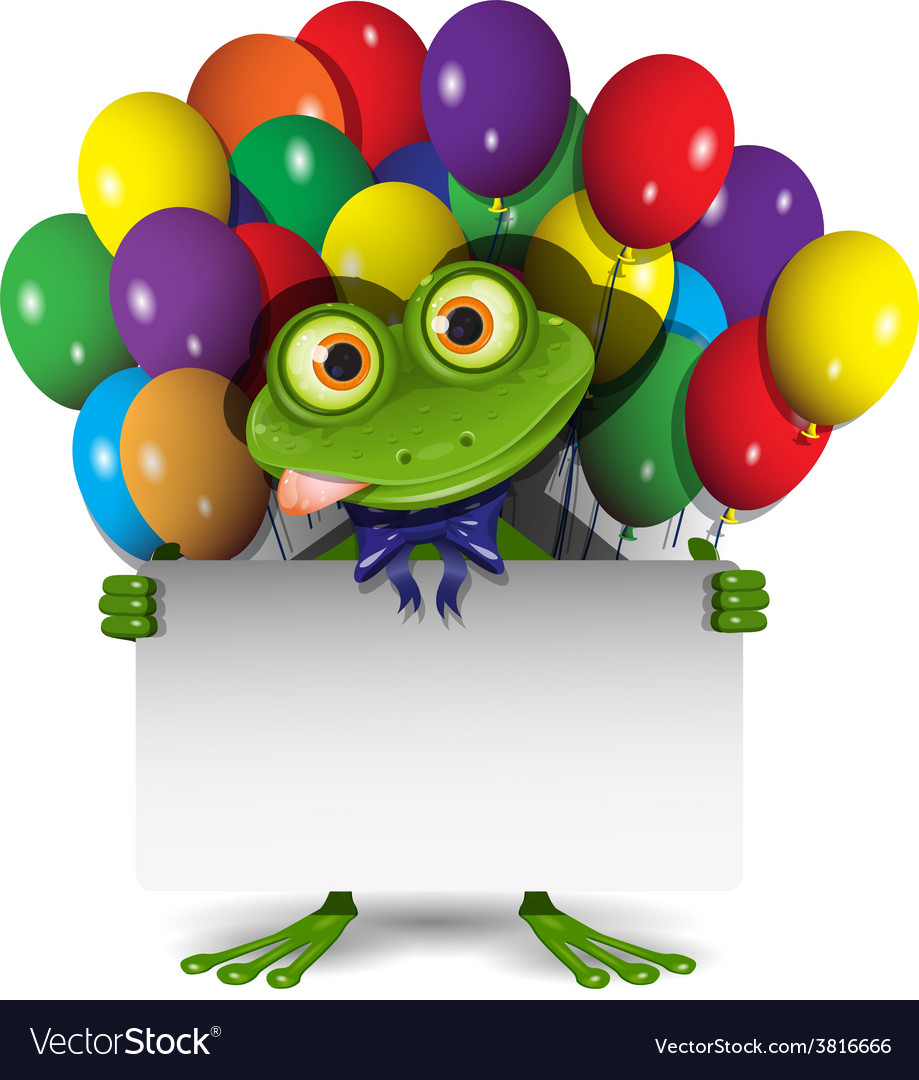 Frog and balloons vector | Price: 3 Credit (USD $3)