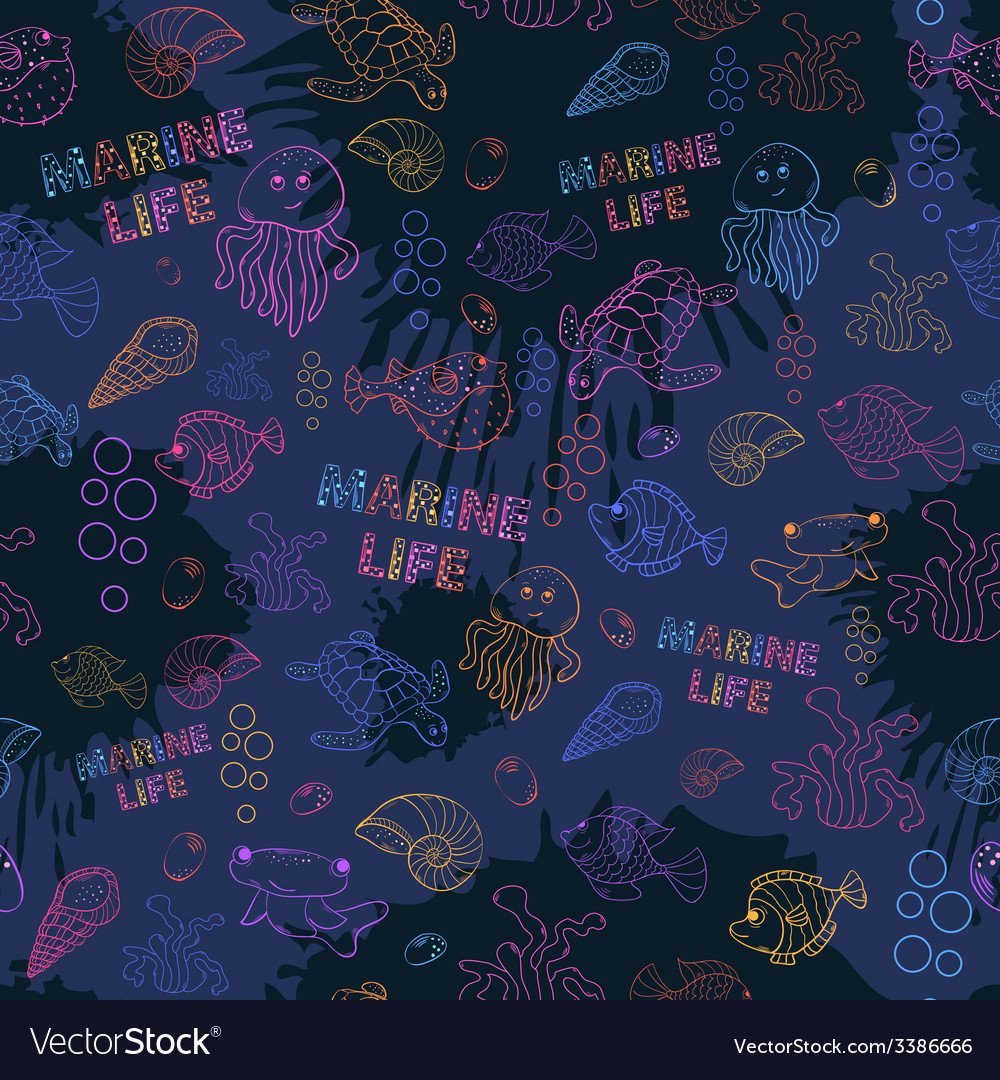 Seamless pattern marine life vector | Price: 1 Credit (USD $1)