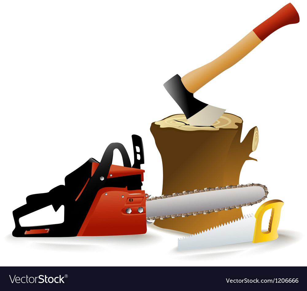 Set of woodcutter tools vector | Price: 1 Credit (USD $1)