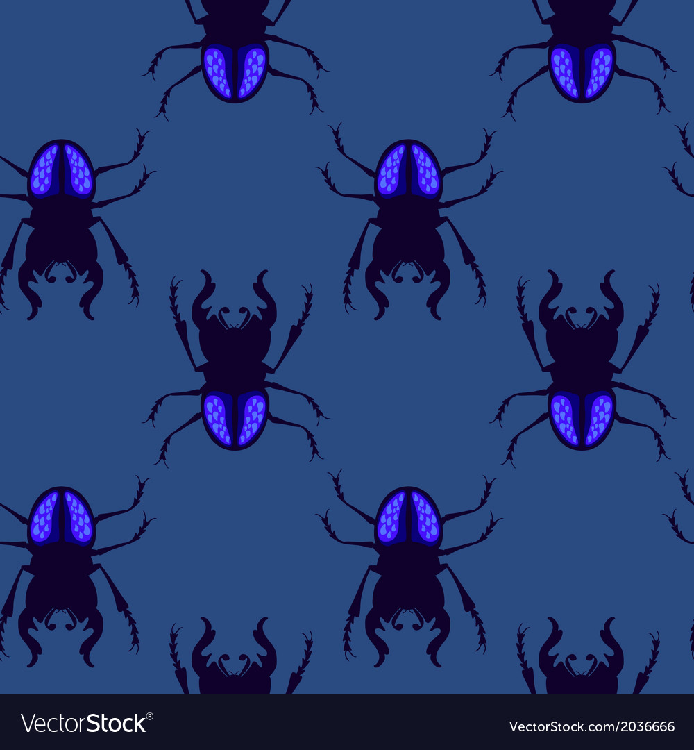 Stag beetle seamless pattern vector | Price: 1 Credit (USD $1)