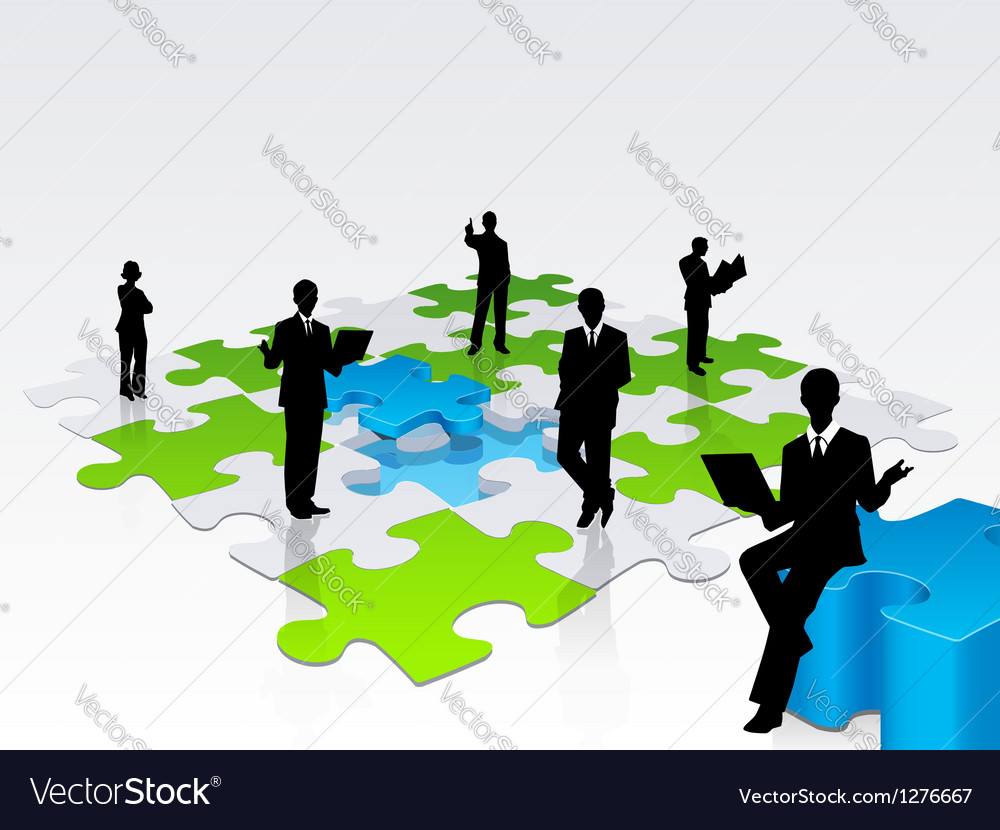 3d business silhouette assembling a puzzle vector | Price: 1 Credit (USD $1)