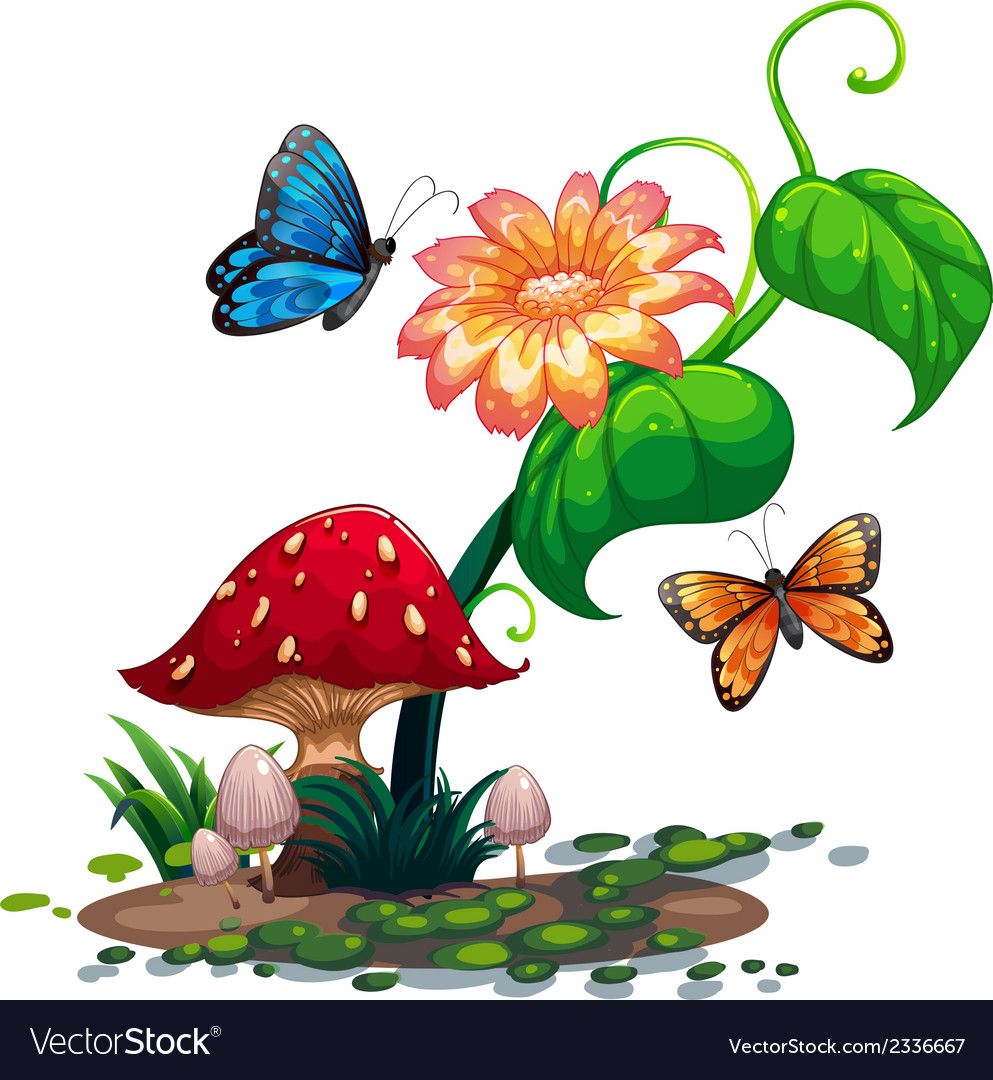 A flowering plant with butterflies vector | Price: 3 Credit (USD $3)