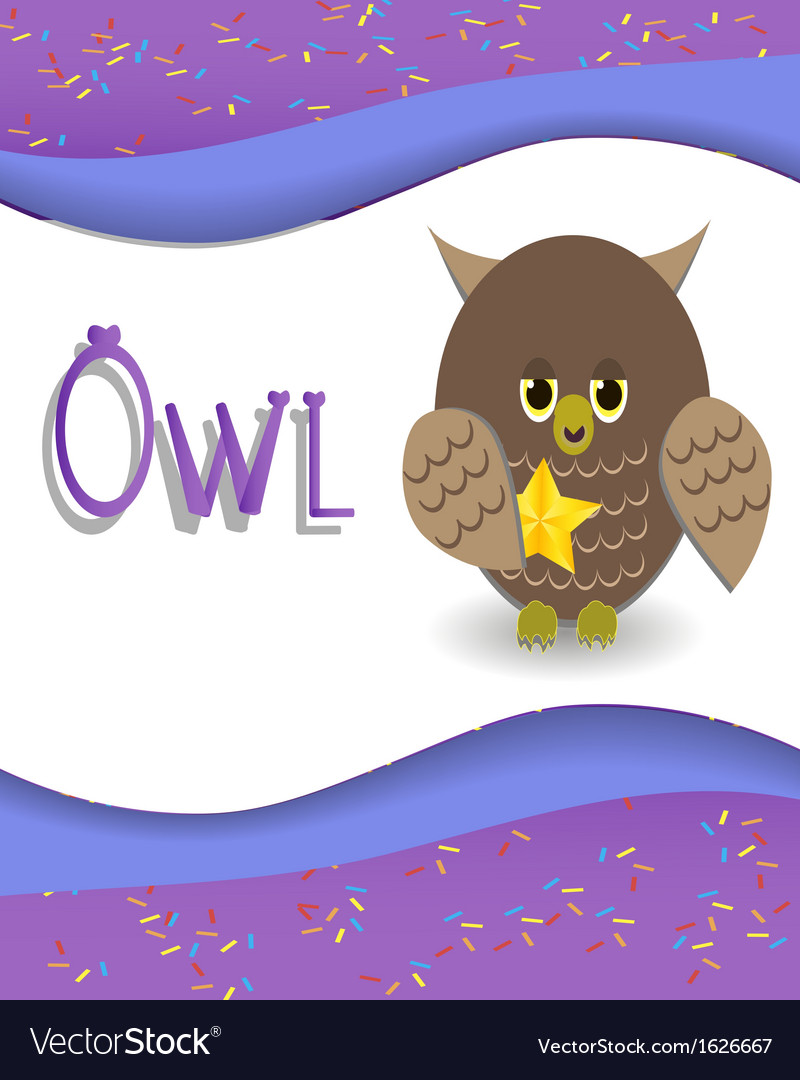 Animal alphabet owl vector | Price: 1 Credit (USD $1)