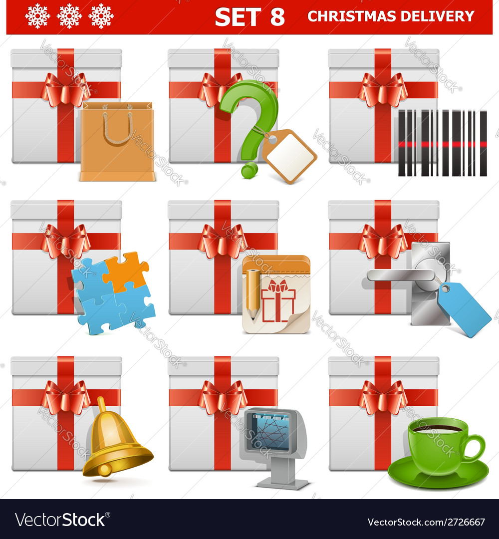 Christmas delivery set 8 vector | Price: 1 Credit (USD $1)