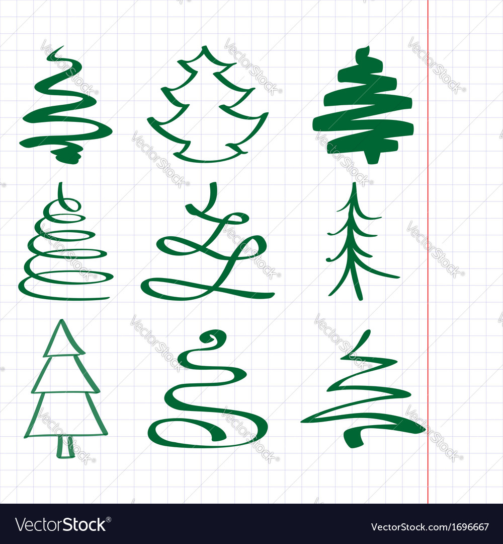 Christmas trees sketch set vector | Price: 1 Credit (USD $1)
