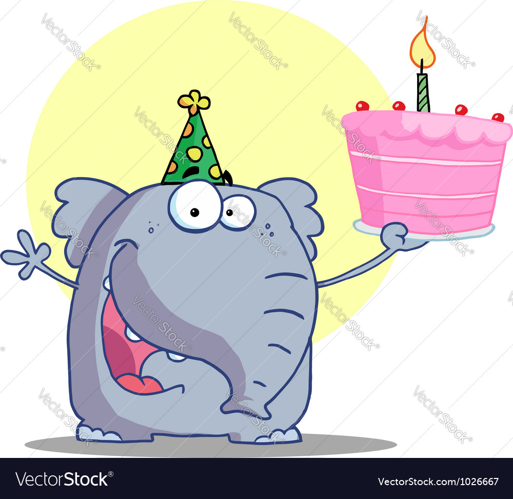 Elephant in a party hat holding up a cake vector | Price: 1 Credit (USD $1)