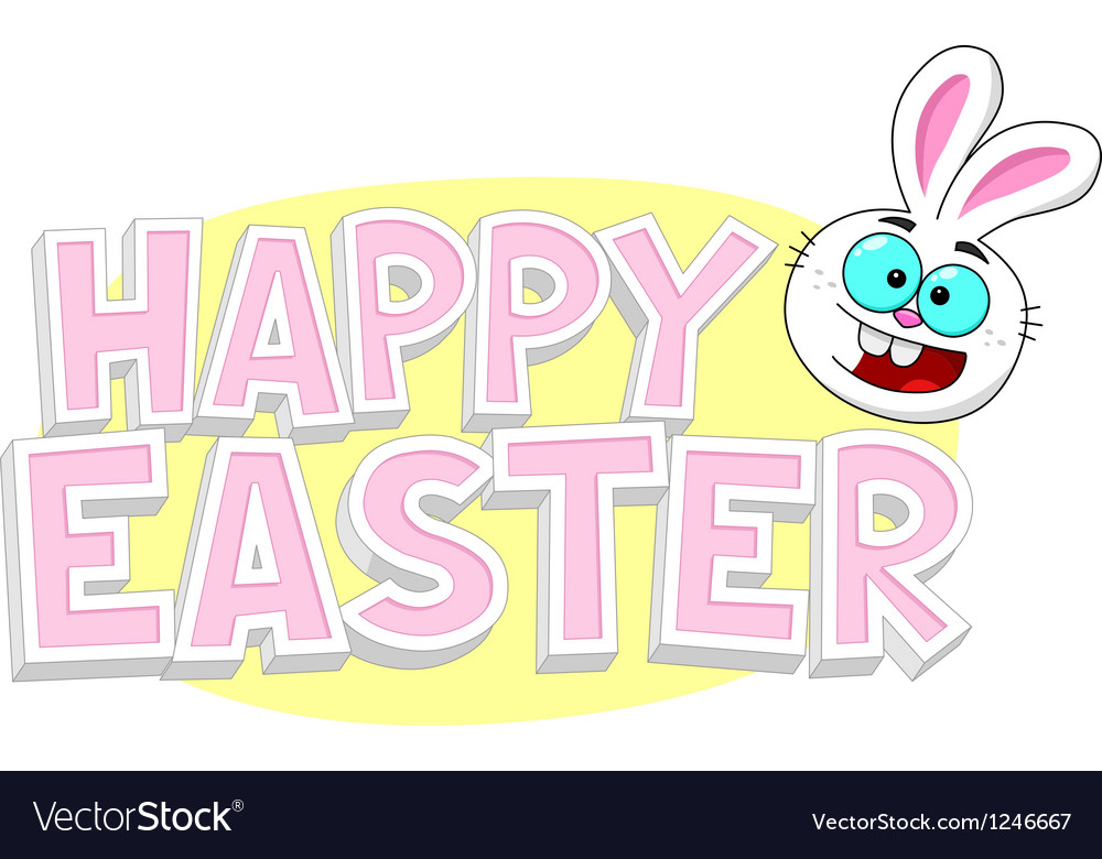 Happy easter text with bunny vector | Price: 1 Credit (USD $1)