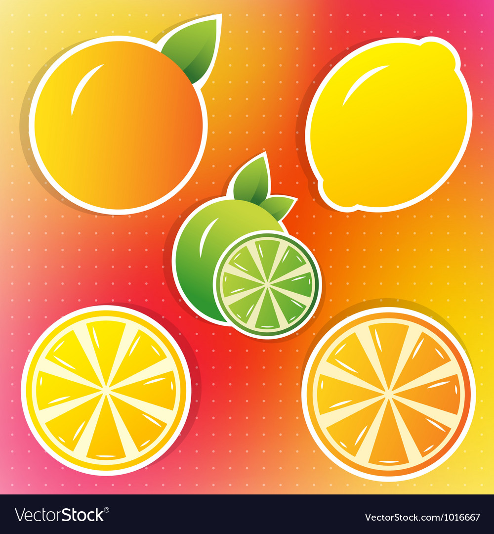 Lemon lime and orange stickers vector | Price: 1 Credit (USD $1)