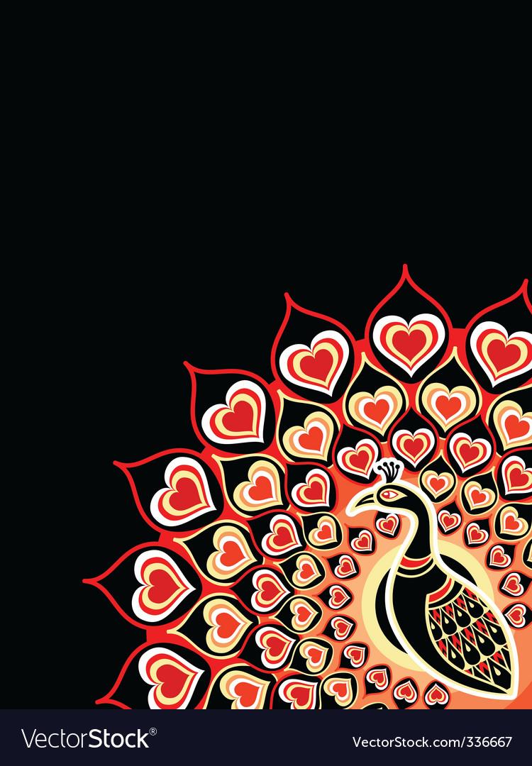 Peacock love card vector | Price: 1 Credit (USD $1)