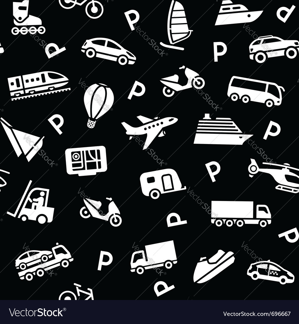 Seamless black background white transport icons vector | Price: 1 Credit (USD $1)