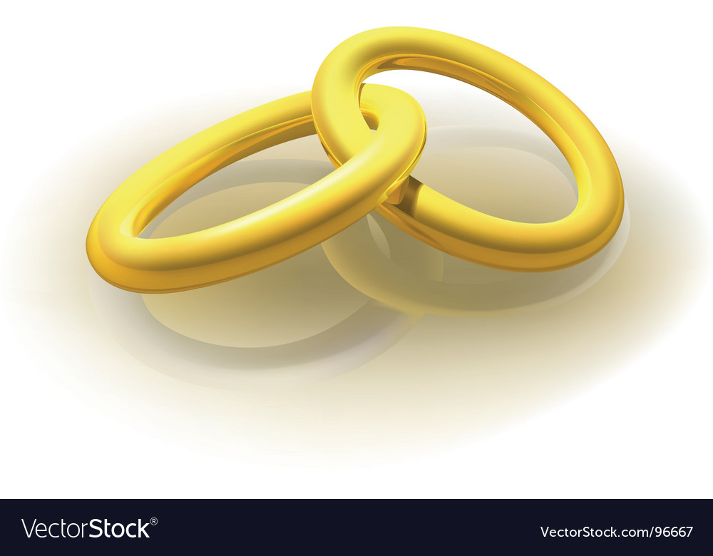 Two gold rings vector