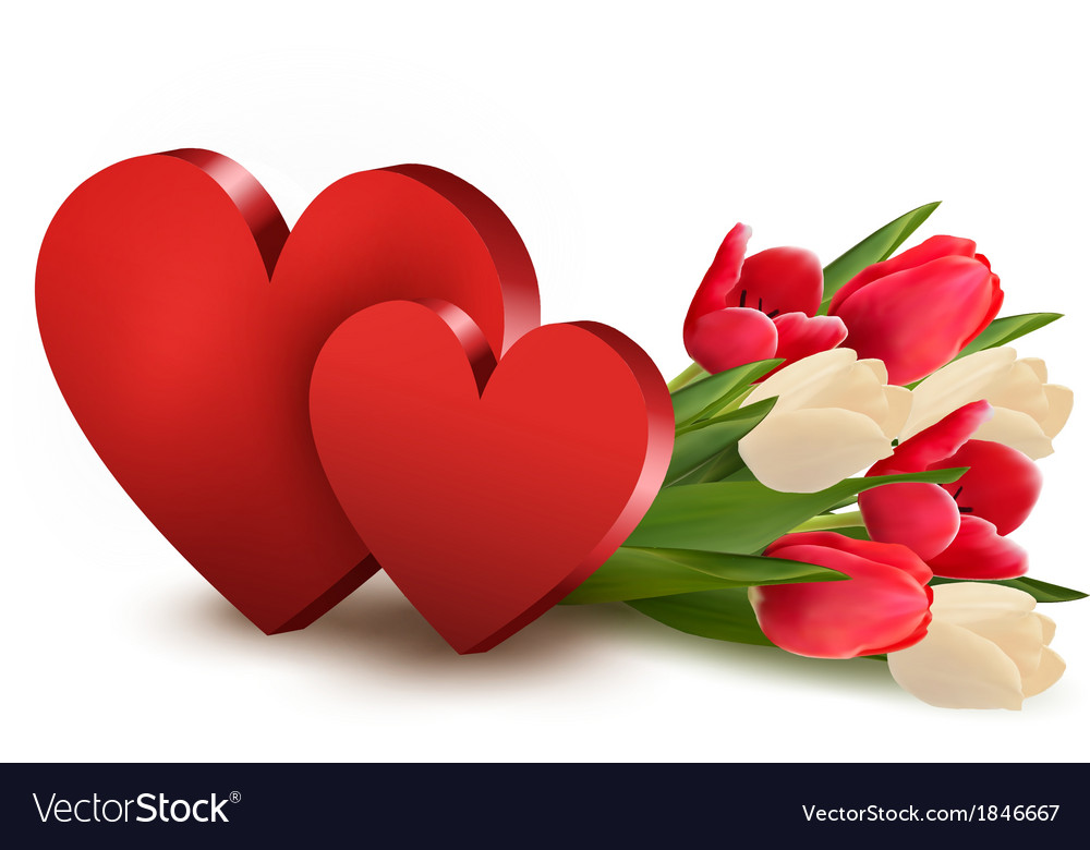 Valentines day background with two hearts and vector | Price: 1 Credit (USD $1)
