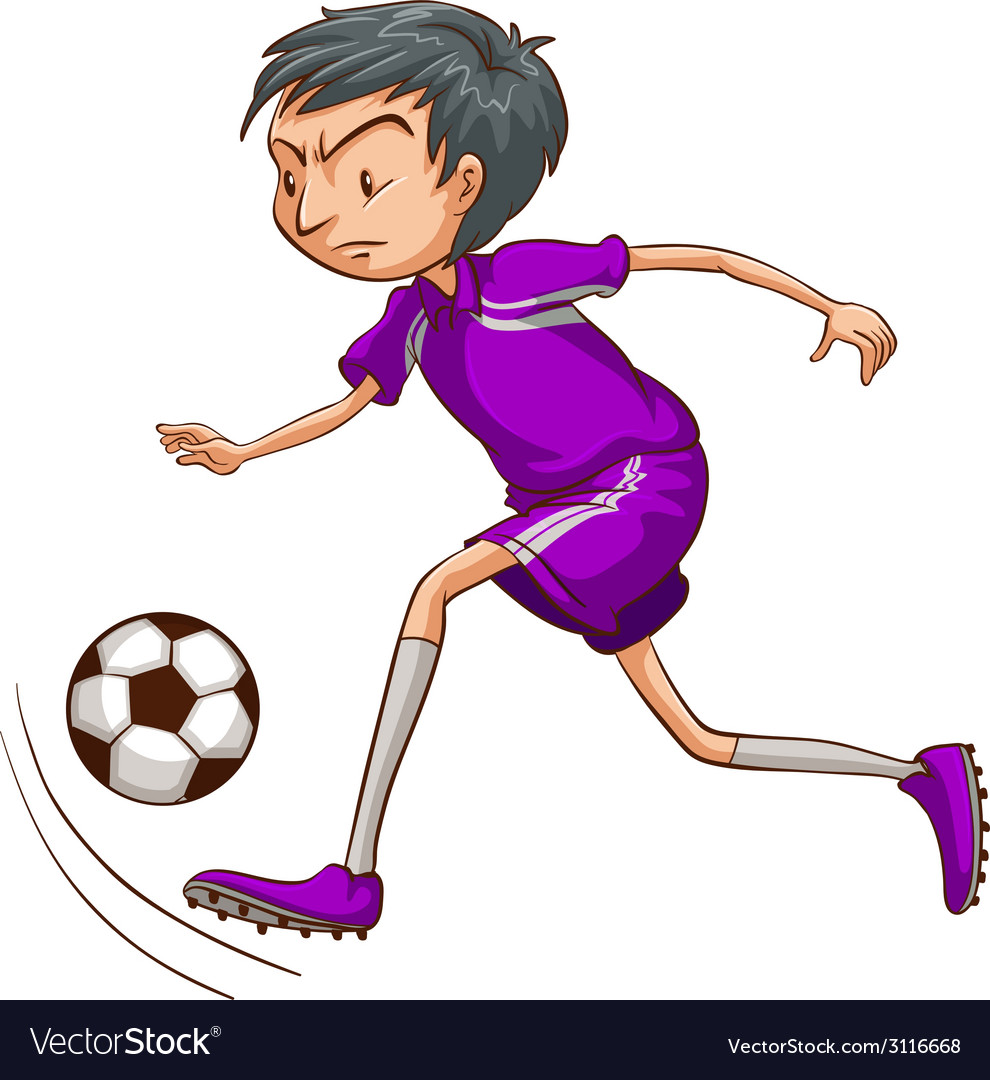 A soccer player with a violet uniform vector | Price: 1 Credit (USD $1)