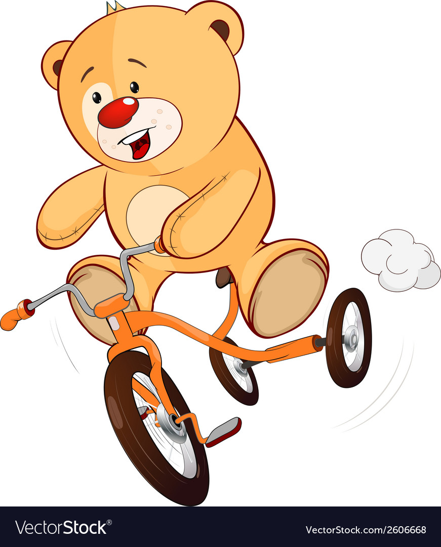 A stuffed toy bear cub and a childrens tricycle vector | Price: 1 Credit (USD $1)