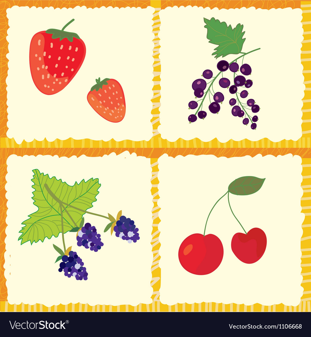 Berry and fruits seamless pattern vector | Price: 1 Credit (USD $1)