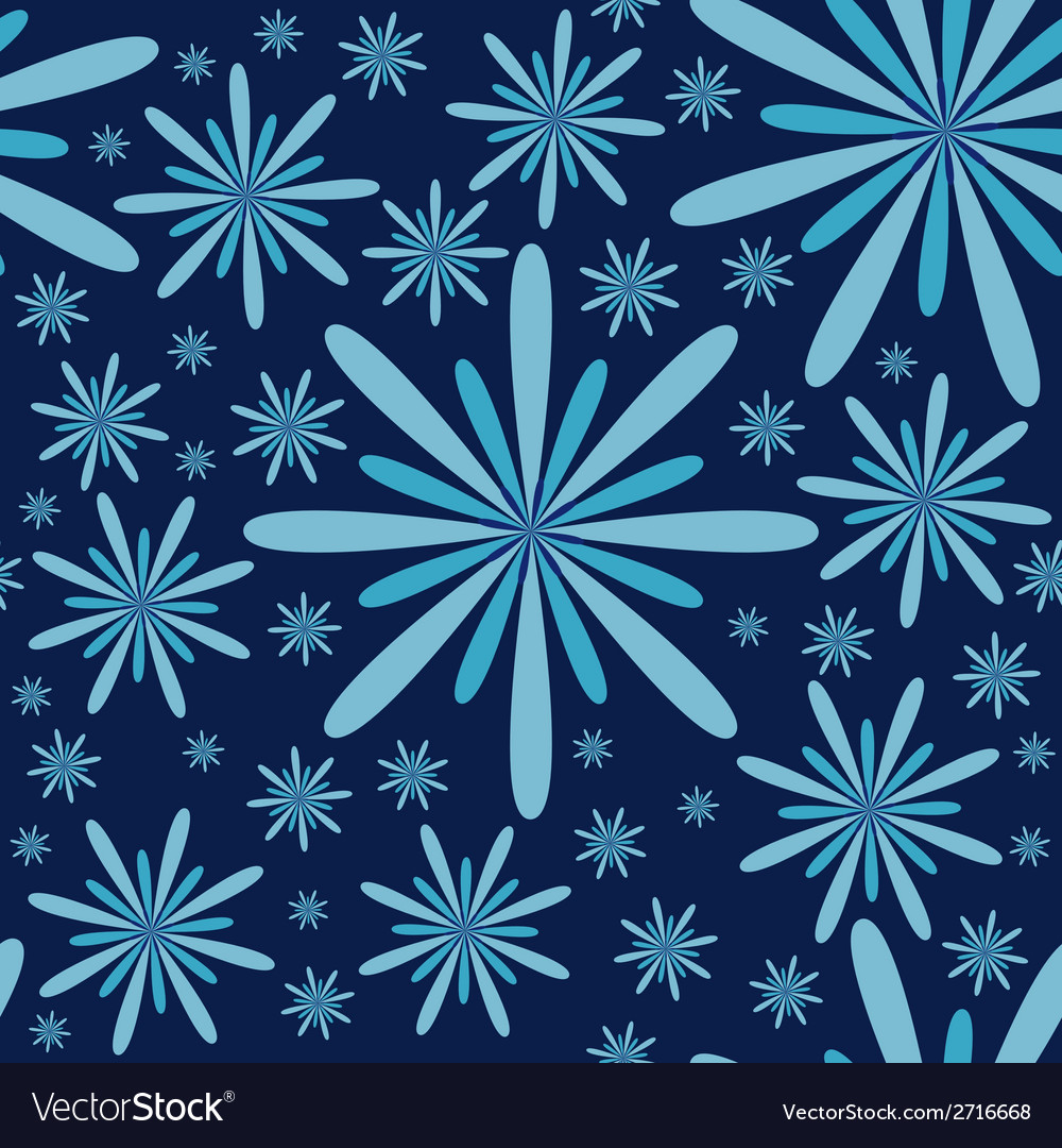 Blue flowers seamless pattern vector | Price: 1 Credit (USD $1)