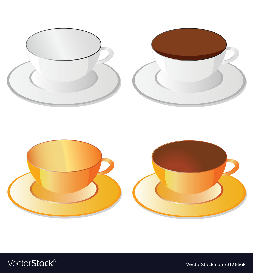 Cup white and orange for coffee vector | Price: 1 Credit (USD $1)