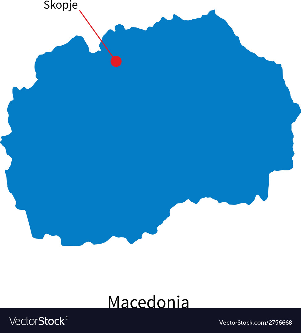 Detailed map of macedonia and capital city skopje vector | Price: 1 Credit (USD $1)