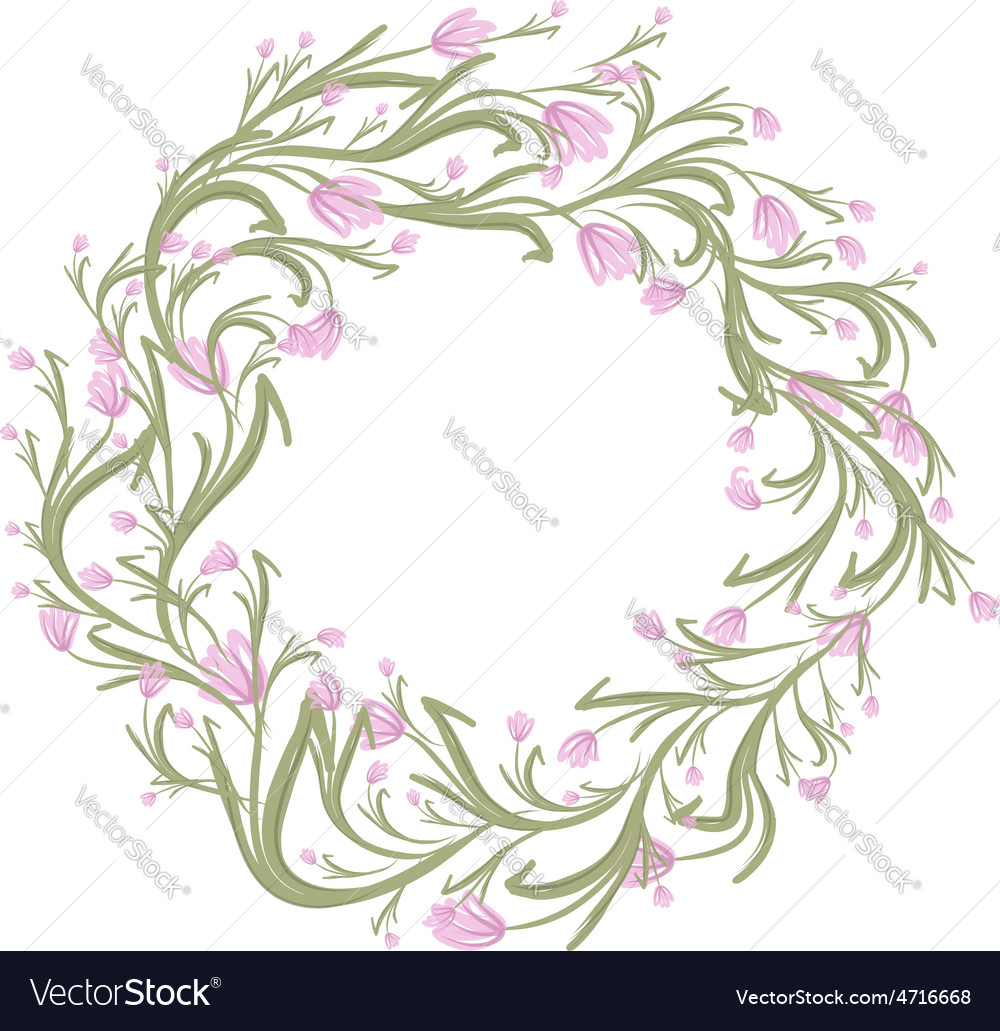 Floral wreath sketch for your design vector | Price: 1 Credit (USD $1)
