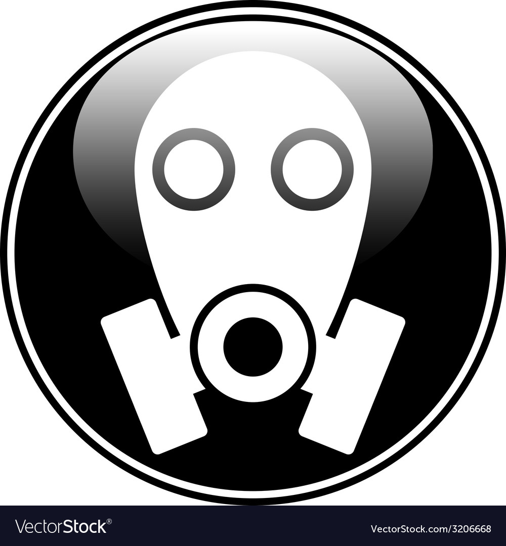 Gas mask symbol button vector | Price: 1 Credit (USD $1)