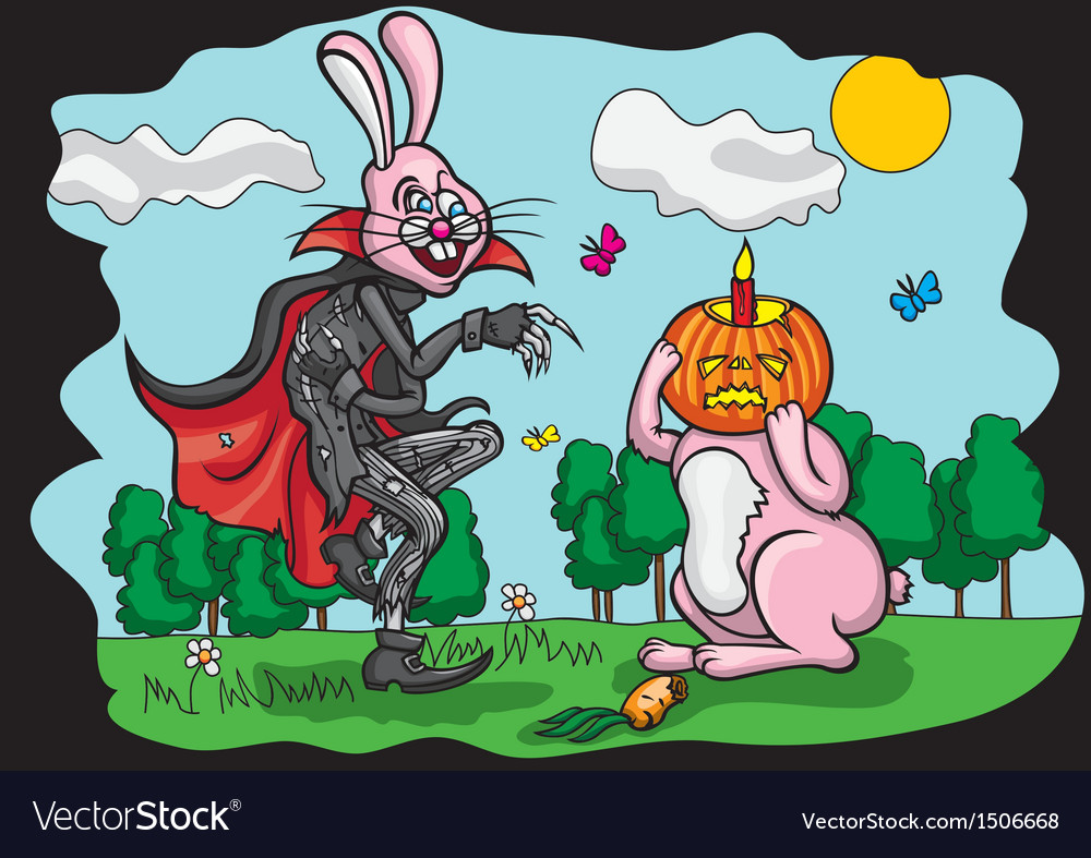 Halloween jack and easter rabbit vector | Price: 3 Credit (USD $3)