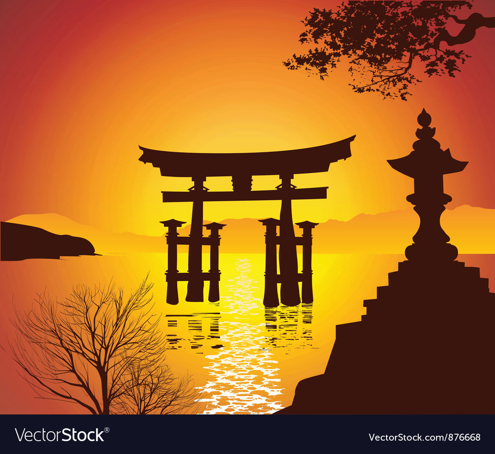 Lake with torii gate vector | Price: 1 Credit (USD $1)