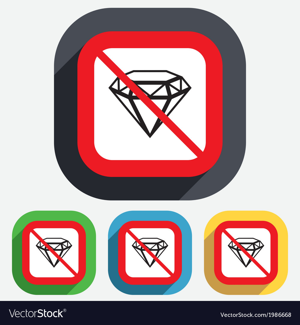 No diamond sign icon jewelry symbol gem stone vector | Price: 1 Credit (USD $1)