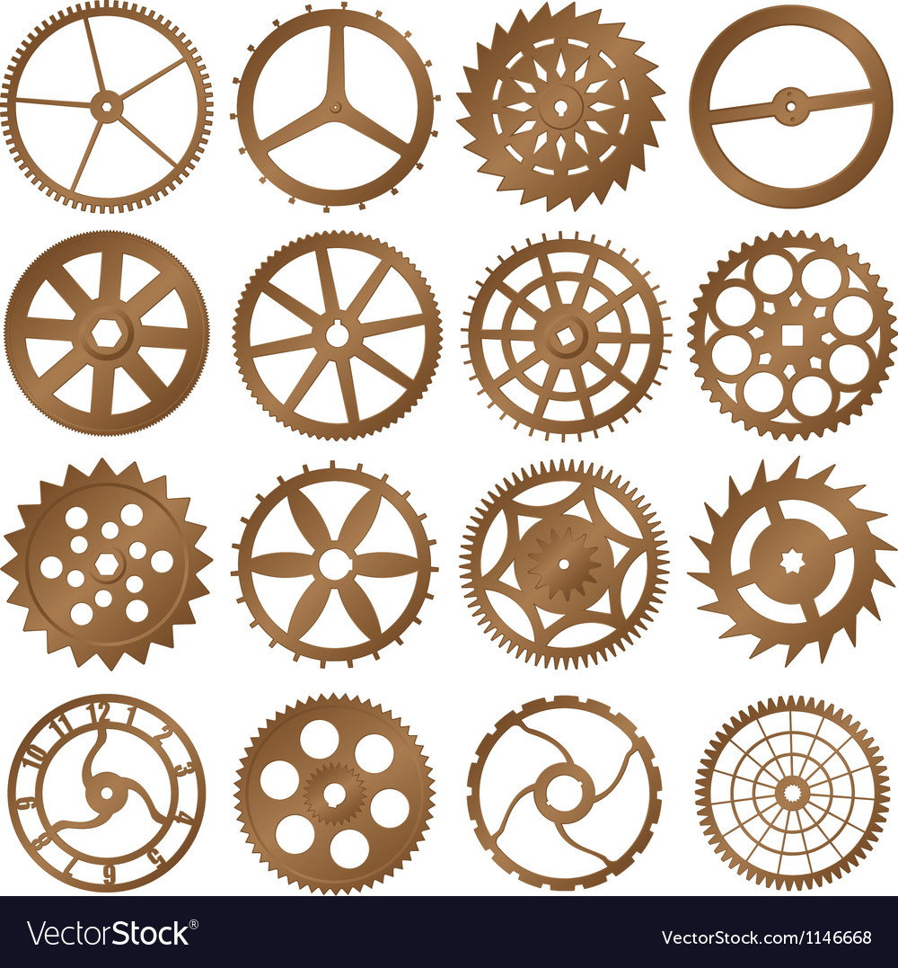 Set of copper watch gears vector | Price: 1 Credit (USD $1)
