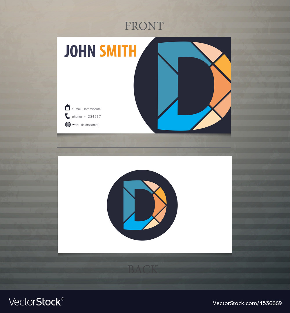 Business card template letter d vector | Price: 1 Credit (USD $1)