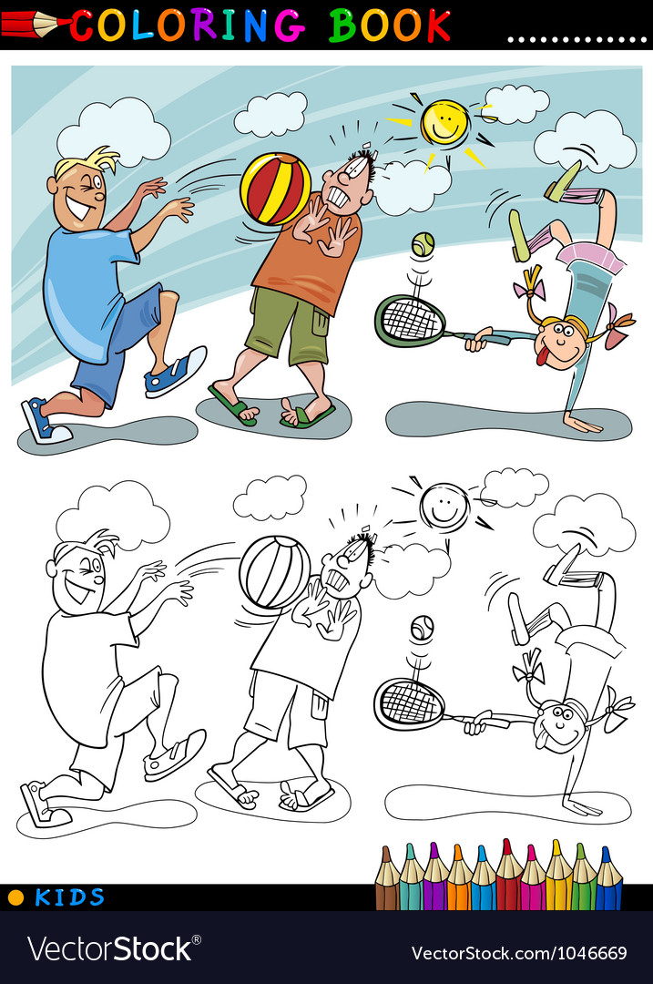 Children playing ball cartoon for coloring vector | Price: 3 Credit (USD $3)