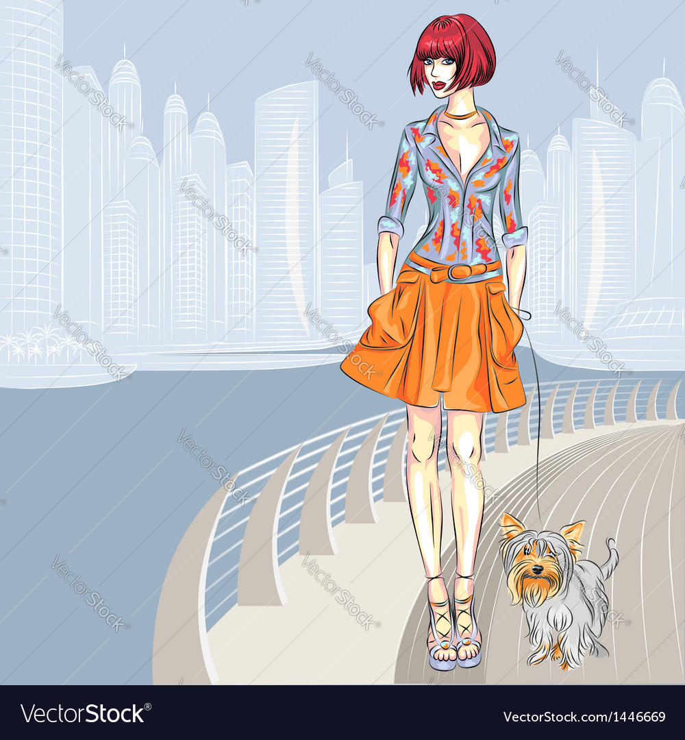 Fashion girl walks with dog vector | Price: 3 Credit (USD $3)