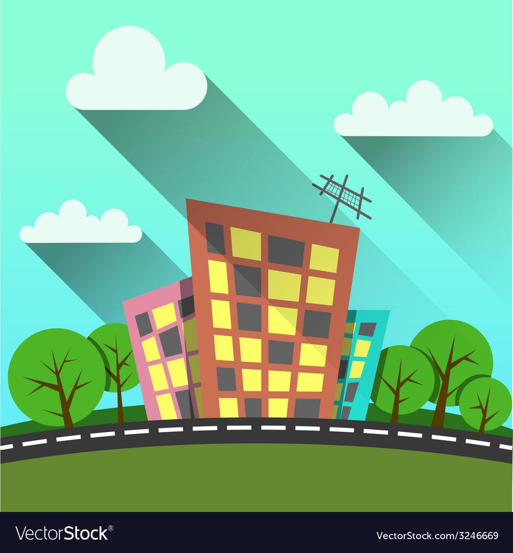 Flat style modern city vector | Price: 1 Credit (USD $1)