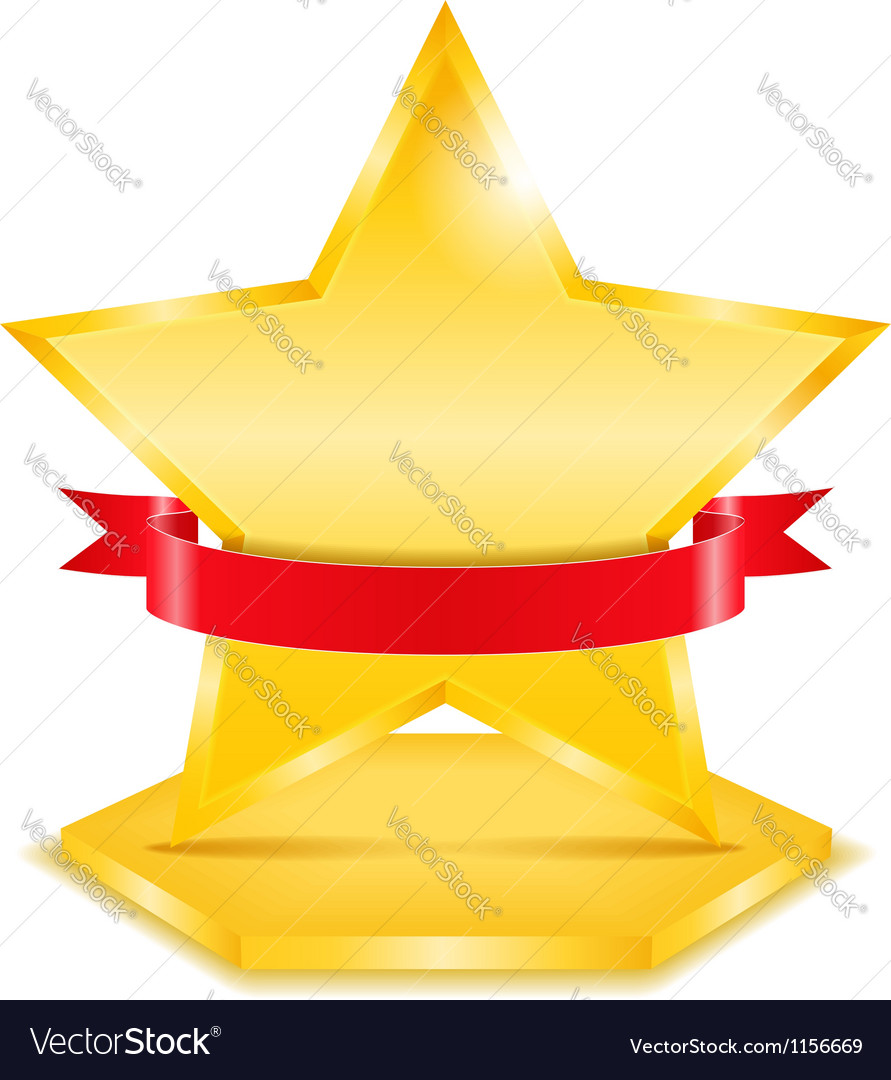 Golden star with ribbon vector | Price: 1 Credit (USD $1)